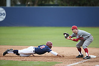 James Rudkin (10) of the Washington State Cougars catches a throw to first base as Billy Wilson (19) of the Loyola Marymount Lions slides back to the bag during a game at Page Stadium on February 26, 2017 in Los Angeles, California. Loyola defeated Washington State, 7-4. (Larry Goren/Four Seam Images)