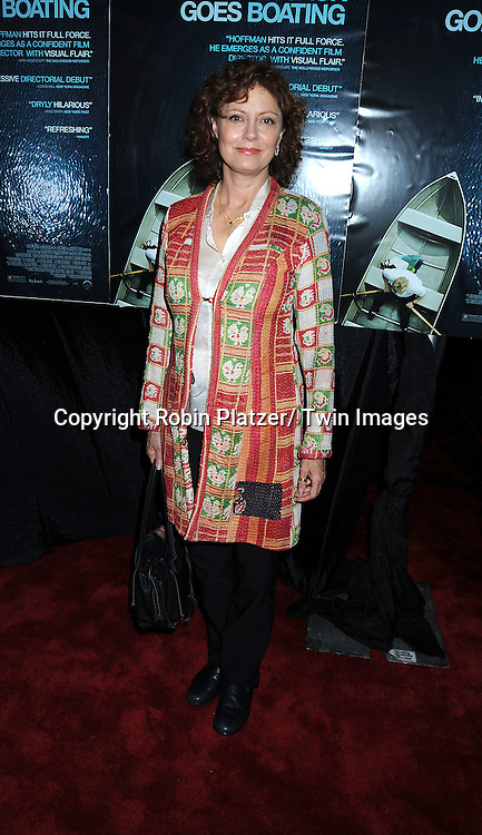 "actress Susan Sarandon arriving at the premiere of ""Jack Goes Boating"" on Septmeber 16, 2010 at The Paris Theatre in New York City."