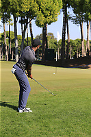 Julian Suri (USA) chips onto the 12th green during Sunday's Final Round of the 2018 Turkish Airlines Open hosted by Regnum Carya Golf &amp; Spa Resort, Antalya, Turkey. 4th November 2018.<br /> Picture: Eoin Clarke | Golffile<br /> <br /> <br /> All photos usage must carry mandatory copyright credit (&copy; Golffile | Eoin Clarke)
