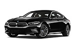 Stock pictures of low aggressive front three quarter view of a 2019 BMW 8 Series Basis 4 Door Sedan