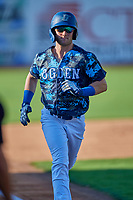 Andrew Shaps (14) of the Ogden Raptors runs home against the Idaho Falls Chukars at Lindquist Field on August 9, 2019 in Ogden, Utah. The Raptors defeated the Chukars 8-3. (Stephen Smith/Four Seam Images)