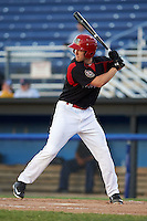 Batavia Muckdogs outfielder Cameron Newell (49) at bat during a game against the Mahoning Valley Scrappers on June 24, 2015 at Dwyer Stadium in Batavia, New York.  Batavia defeated Mahoning Valley 1-0 as three Muckdogs pitchers combined to throw a perfect game.  (Mike Janes/Four Seam Images)