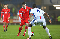 Tom Lawrence of Wales, is challenged by Fidel Escobar of Panama during dthe International Friendly match between Wales and Panama at The Cardiff City Stadium, Wales, UK. Tuesday 14 November 2017