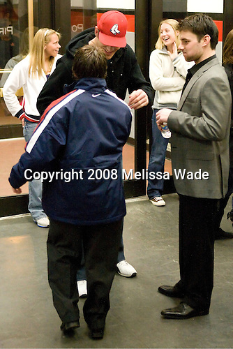 Patrick O'Sullivan (USA 9 - Los Angeles Kings/Mississauga IceDogs) looks on as Nathan Gerbe (USA 16 - Boston College) greets his former Boston College teammate Brian Boyle who split his season between O'Sullivan's Kings and their AHL affiliate Manchester Monarchs.   Team USA defeated Team Sweden 5-1 on Sunday, April 27, 2008, in an exhibition match at the Cumberland County Civic Center in Portland, Maine, prior to the 2008 World Championships.