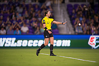 Orlando, FL - Saturday March 24, 2018: The referee gives instruction to the goalkeeper during a regular season National Women's Soccer League (NWSL) match between the Orlando Pride and the Utah Royals FC at Orlando City Stadium. The game ended in a 1-1 draw.