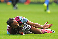 Aston Villa's Ahmed Elmohamady reacts after taking a knock to his face  <br /> <br /> Photographer Ashley Crowden/CameraSport<br /> <br /> The EFL Sky Bet Championship - Cardiff City v Aston Villa - Saturday August 12th 2017 - Cardiff City Stadium - Cardiff<br /> <br /> World Copyright &copy; 2017 CameraSport. All rights reserved. 43 Linden Ave. Countesthorpe. Leicester. England. LE8 5PG - Tel: +44 (0) 116 277 4147 - admin@camerasport.com - www.camerasport.com