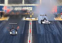 Feb 28, 2016; Chandler, AZ, USA; NHRA top fuel driver Dave Connolly (left) races alongside a sideways Richie Crampton during the Carquest Nationals at Wild Horse Pass Motorsports Park. Mandatory Credit: Mark J. Rebilas-