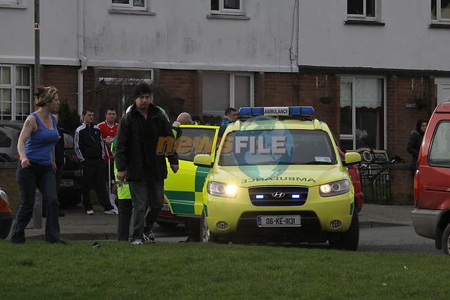 The scene of the fatal fire in Moneymore in Drogheda. Three victoms ranging from 6 to 22 were killed in the fire another 13 year old is in a critical condtion in Our Lady of Lourdes Hospital, Other victoms were removed to Our Lady of Lourdes for treatment. When the fire service arrived on the scene they were fought back by flames coming fromt he building, Three units of the fire service tackled the fire. More information as it becomes clear...Photo: Fran Caffrey/www.newsfile.ie...