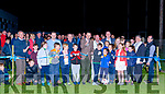 The official opening of the all weather pitch and unveiling of the new flood lights took place at Fr. Casey&rsquo;s GAA grounds on Saturday 29th of September at 7.30 by Minister Patrick O&rsquo;Donovan.<br /> Canon Mullins was also in attendance to bless the pitch.  This year we were delighted to receive &euro;46,500  sports capital grant for flood lights for our all weather pitch and works were completed in July.The final of the boys parish league was held and a great display of football was enjoyed by the large crowd in attendance.  The night was completed with  a  barbeque and music at the clubhouse.<br /> Minister Patrick O&rsquo; Donovan cuts the ribbon to officially open the new Pitch.