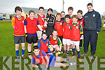 Footaball Blitz : Students from 1st year classes from Tarbert Comprehensive School who took part in a 9 aside football blitz at Tarbert GAA grounds on Wednesday 7th March. Back Row L-R: Jack Mulvihill, Glynn Carey, Mitch Foley (Captain), Joe Langan (Cup presenter & sponsor), Gearoid Mulvihill, Jack Goulding, Finbar Carrig, Shea McDonald (Manager)..Middle three to left, L-R: Sheldon Neil, Eoin OConnor, Michael Holly..On ground, Front to Back: Brian Mason, Adam Doherty, Jack Healy