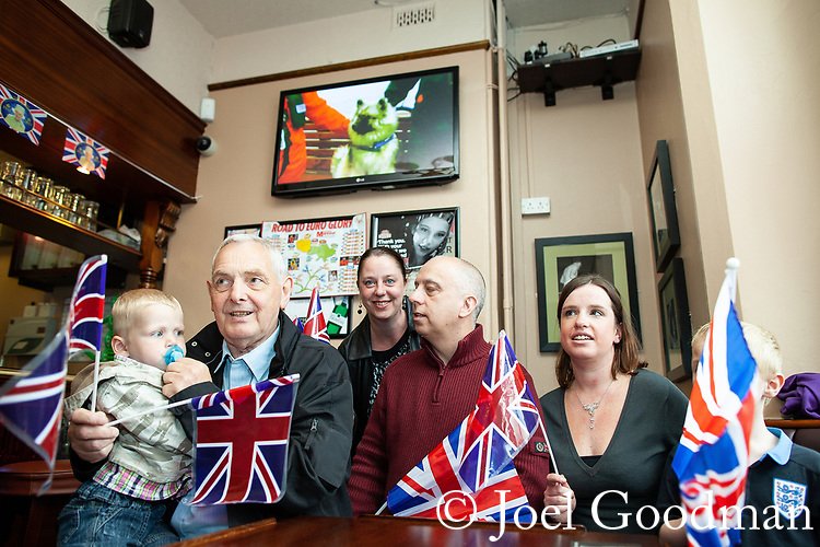 © Joel Goodman - 07973 332324 . 03/06/2012 . Manchester , UK . Jubilee party at Ye Golden Lion pub , Old Market Street , Blackley village , as streets are closed for street parties for the Queen's Diamond Jubilee celebrations . Photo credit : Joel Goodman