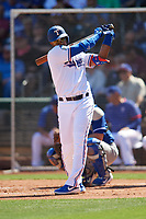 Elvis Andrus (1) of the Texas Rangers during a Cactus League Spring Training game against the Los Angeles Dodgers on March 8, 2020 at Surprise Stadium in Surprise, Arizona. Rangers defeated the Dodgers 9-8. (Tracy Proffitt/Four Seam Images)