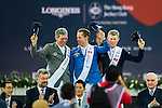 Christian Ahlmann of Germany riding Caribis Z wins the Longines Grand Prix, with Ludger Beerbaum of Germany riding Casello being the first runner-up, and Max Kuhner of Austria riding Cornet Kalua being the second runner-up, during the Longines Masters of Hong Kong 2017 on 12 February 2017 at the AsiaWorld Expo in Hong Kong, China. Photo by Marcio Rodrigo Machado / Power Sport Images