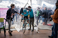 Miguel Angel Lopez (COL/Astana) entering the finish tent at the mountaintop finish of Stage 13: Pinerolo to Ceresole Reale/Lago Serrù (196km)<br /> 102nd Giro d'Italia 2019<br /> <br /> ©kramon