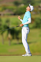 Dylan Frittelli (RSA) reacts on the 18th hole during the final round of the Afrasia Bank Mauritius Open played at Heritage Golf Club, Domaine Bel Ombre, Mauritius. 03/12/2017.<br /> Picture: Golffile   Phil Inglis<br /> <br /> <br /> All photo usage must carry mandatory copyright credit (&copy; Golffile   Phil Inglis)