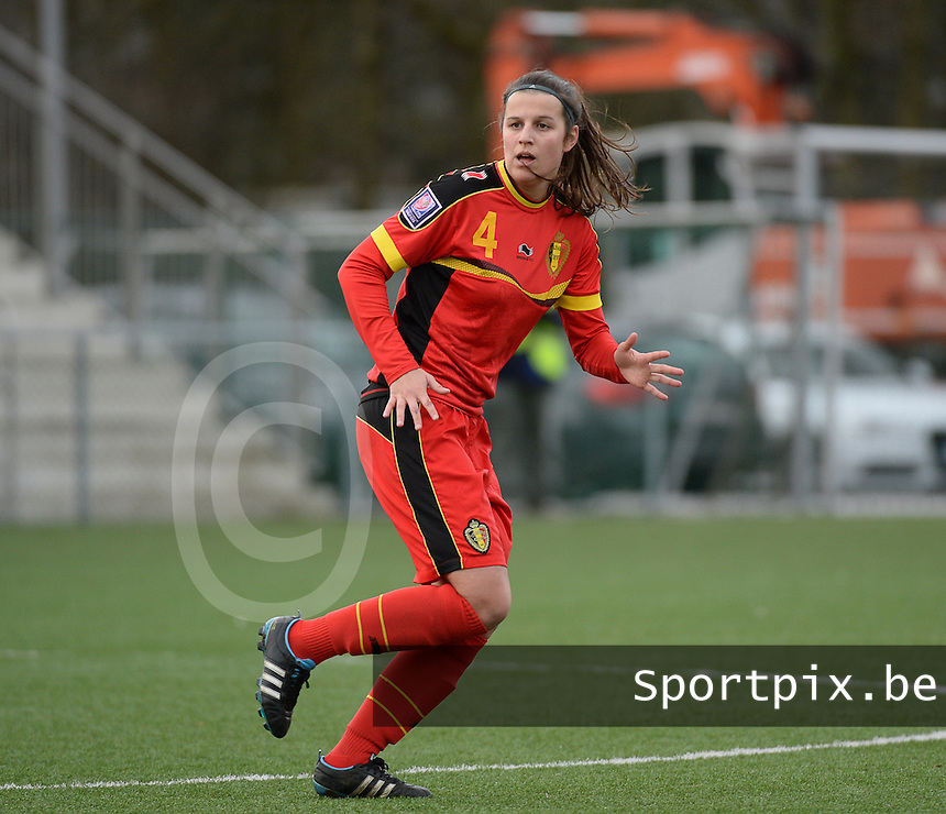 20140208 - OOSTAKKER , BELGIUM : Belgian Laura De Neve pictured during a friendly soccer match between the women teams of Belgium and Poland , Saturday 8 February 2014 in Oostakker. PHOTO DAVID CATRY