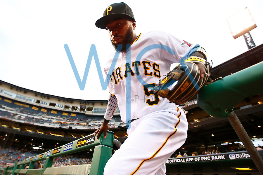 Josh Harrison #5 of the Pittsburgh Pirates in action against the St. Louis Cardinals during the game at PNC Park in Pittsburgh, Pennsylvania on April 6, 2016. (Photo by Jared Wickerham / DKPS)