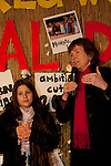 Mary Robinson speaks at a candlelight vigil held at the Bella Center in Copenhagen on Saturday evening. Dec. 12, 2009. (Credit: Robert vanWaarden/Avaaz.org)