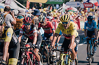 yellow jersey / GC leader Greg Van Avermaet (BEL/BMC) finishing up the Mûr de Bretagne together with a group of favorites and retaining his jersey<br /> <br /> Stage 6: Brest > Mûr de Bretagne / Guerlédan (181km)<br /> <br /> 105th Tour de France 2018<br /> ©kramon
