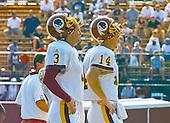 Washington Redskins quarterbacks Jeff George (3) and Brad Johnson (14) watch practice at the team's training camp at Redskins Park in Ashburn, Virginia on August 10, 2000.<br /> Credit: Arnie Sachs / CNP
