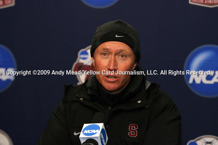 06 December 2009: Stanford head coach Paul Ratcliffe during the postgame press conference. The University of North Carolina Tar Heels defeated the Stanford University Cardinal 1-0 at Aggie Soccer Stadium in College Station, Texas in the NCAA Division I Women's College Cup Championship game.