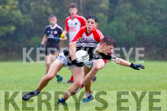 Dylan Geaney, West Kerry tackles Luke Chester, Coiste Trá Lí during their U16 County Championship game on Saturday.
