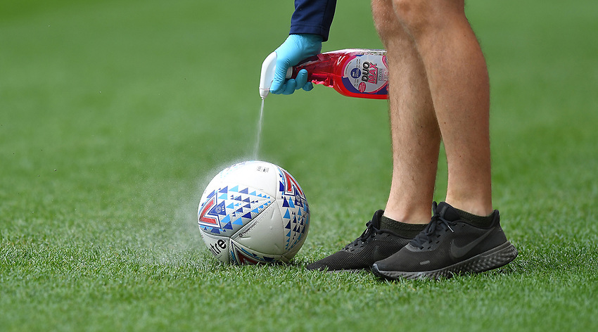 A match ball being sanitised <br /> <br /> Photographer Dave Howarth/CameraSport<br /> <br /> The EFL Sky Bet Championship - Wigan Athletic v Blackburn Rovers - Saturday 27th June 2020 - DW Stadium - Wigan<br /> <br /> World Copyright © 2020 CameraSport. All rights reserved. 43 Linden Ave. Countesthorpe. Leicester. England. LE8 5PG - Tel: +44 (0) 116 277 4147 - admin@camerasport.com - www.camerasport.com