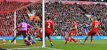 Diego Costa of Chelsea scores the winning goal  - Barclays Premier League - Liverpool vs Chelsea - Anfield Stadium - Liverpool - England - 8th November 2014  - Picture Simon Bellis/Sportimage