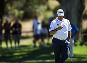 10th February 2018, Lake Karrinyup Country Club, Karrinyup, Australia; ISPS HANDA World Super 6 Perth golf, third round; Lee Westwood (ENG) inspects his ball