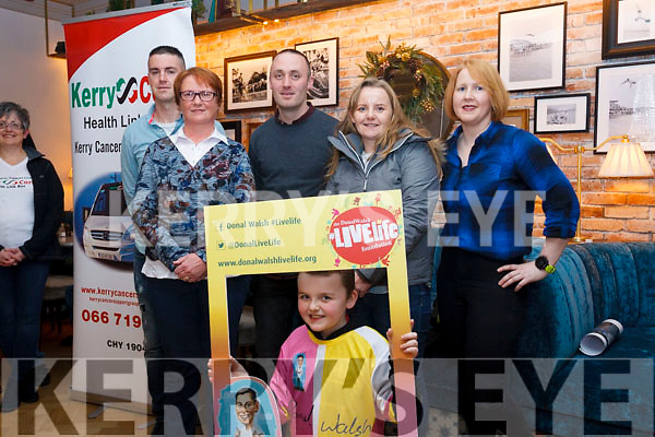 Attending the launch of the 5k a day challenge by Poshey Ahern in the Ashe Hotel, Tralee on Wednesday night last. L to r: Poshey Aherne, Elma Walsh, Tommy Commane, Jenny Boyle and Michelle McGrath. Kneeling front, Luke Boyle.