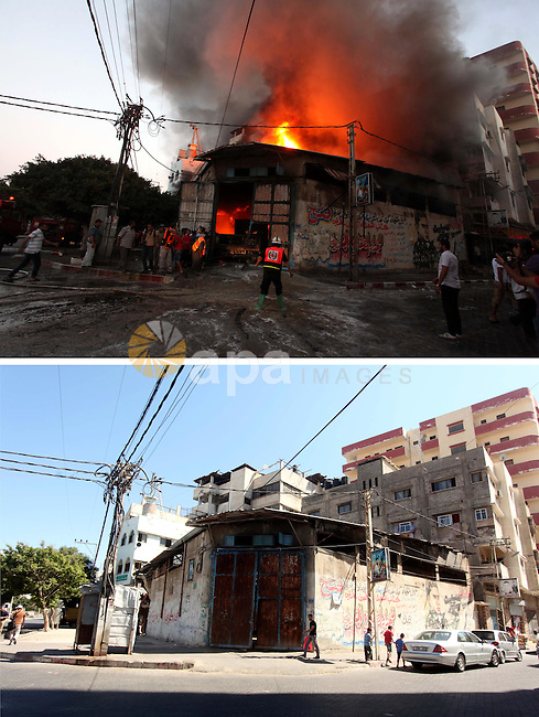 A combination of pictures made on July 7, 2015 shows (top) Palestinians looking as firefighters try to extinguish fire from soap factory that caught fire moments after it was hit by an Israeli airstrike in Gaza City August 10, 2014, and the same place (bottom) on July 7, 2015, a year after the 50-day war between Israel and Hamas' militants. Photo by Ashraf Amra