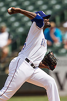 Round Rock Express pitcher Roman Mendez #55 delivers a pitch to the plate during the Pacific Coast League baseball game against the Memphis Redbirds on April 27, 2014 at the Dell Diamond in Round Rock, Texas. The Express defeated the Redbirds 6-2. (Andrew Woolley/Four Seam Images)