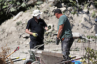 Pictured: Forensics officers go through soil in Kos, Greece. Wednesday 05 October 2016<br />