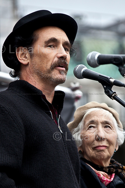 Mark Rylance (English actor, theatre director and playwright).<br /> <br /> London, 08/10/2011. Today Trafalgar Square was the stage of the &quot;Antiwar Mass Assembly&quot; organised by The Stop The War Coalition to mark the 10th Anniversary of the invasion of Afghanistan. Thousands of people gathered in the square to listen to speeches given by journalists, activists, politicians, trade union leaders, MPs, ex-soldiers, relatives and parents of soldiers and civilians killed during the conflict, and to see the performances of actors, musicians, writers, filmmakers and artists. The speakers, among others, included: Jeremy Corbin, Joe Glenton, Seumas Milne, Brian Eno, Sukri Sultan and Shadia Edwards-Dashti, Hetty Bower, Mark Cambell, Sanum Ghafoor, Andrew Murray, Lauren Booth, Kate Hudson, Sami Ramadani, Yvone Ridley, Mark Rylance, Dave Randall, Roger Lloyd-Pack, Rebecca Thorn, Sanasino al Yemen, Elvis McGonagall, Lowkey (Kareem Dennis), Tony Benn, John Hilary, Bruce Kent, John Pilger, Billy Hayes, Alison Louise Kennedy, Joan Humpheries, Jemima Khan, Julian Assange, Lindsey German, George Galloway. At the end of the speeches a group of protesters marched toward Downing Street where after a peaceful occupation the police made some arrests.