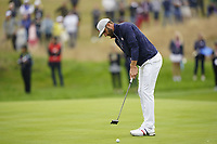 Dustin Johnson (Team USA) on the 5th during the friday fourballs at the Ryder Cup, Le Golf National, Iles-de-France, France. 27/09/2018.<br /> Picture Fran Caffrey / Golffile.ie<br /> <br /> All photo usage must carry mandatory copyright credit (© Golffile | Fran Caffrey)