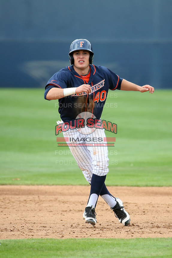 Josh Vargas (40) of the Cal State Fullerton Titans leads off of second base during a game against the Wichita State Shockers at Goodwin Field on March 13, 2016 in Fullerton, California. Cal State Fullerton defeated Wichita State, 7-1. (Larry Goren/Four Seam Images)