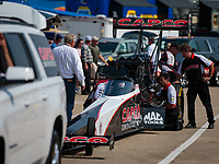 Jun 2, 2018; Joliet, IL, USA; Crew members for NHRA top fuel driver Billy Torrence during qualifying for the Route 66 Nationals at Route 66 Raceway. Mandatory Credit: Mark J. Rebilas-USA TODAY Sports