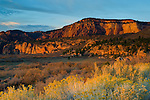 Sunset light on red rock buttes on the Kolob Terrace, Zion National Park, Utah