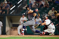 Lehigh Valley IronPigs center fielder Collin Cowgill (7) grounds out in front of catcher Juan Graterol (52) and home plate umpire Charlie Ramos during a game against the Rochester Red Wings on June 30, 2018 at Frontier Field in Rochester, New York.  Lehigh Valley defeated Rochester 6-2.  (Mike Janes/Four Seam Images)