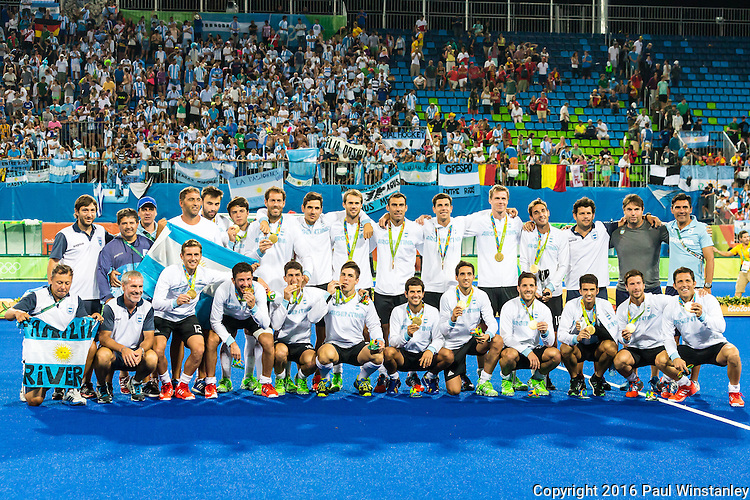 Argentina team after the Men's hockey medal ceremony at the Rio 2016 Olympics at the Olympic Hockey Centre in Rio de Janeiro, Brazil.