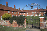 """Mary Warner almshouses, Boyton, Suffolk, England. Built in 1736 as a response to the charitable directions in the will of a 52-year old spinster, Mary Warner, the last of her branch of a well-known Suffolk family.  Mistress Mary Warner, heiress to lands and property from several generations of Suffolk landed proprietors and merchants in the City of London. <br /> <br /> Mary Warner intended the almshouses for six poor men and six poor women, each of whom was entitled to <br /> <br /> """"50 shillings yearly for suits of warm brown cloths. In 1802 four new appartments were added and the almspeople were entitled to a weekly stipend of seven shillings, a yearly allowance of two pounds fifteen shillings for clothing, two pounds five shillings for firing and one pound one shilling towards the expense of their washing. In the same year the nurse who cared for the inhabitants was given seven shillings a week as well as one shilling and sixpence for heating in the common oven."""""""
