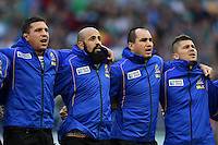 Romania players sing the national anthem prior to the match. Rugby World Cup Pool D match between Ireland and Romania on September 27, 2015 at Wembley Stadium in London, England. Photo by: Patrick Khachfe / Onside Images