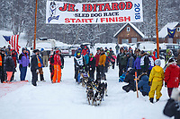 Grace Nolan during the start of the 2018 Junior Iditarod Sled Dog Race on Knik Lake in Southcentral, Alaska.  Saturday February 24, 2018<br /> <br /> Photo by Jeff Schultz/SchultzPhoto.com  (C) 2018  ALL RIGHTS RESERVED