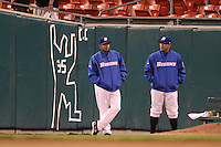 May 3, 2010:  Relief pitchers for the Buffalo Bisons stand in front of a tape outline of Outfielder Chris Carter during a game vs. the Louisville Bats at Coca-Cola Field in Buffalo, NY.   Louisville defeated Buffalo by the score of 20-7.  Photo By Mike Janes/Four Seam Images