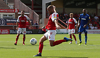 Fleetwood Town's Tommy Spurr sees this shot saved<br /> <br /> Photographer Stephen White/CameraSport<br /> <br /> The EFL Sky Bet League One - Fleetwood Town v AFC Wimbledon - Saturday 4th August 2018 - Highbury Stadium - Fleetwood<br /> <br /> World Copyright &copy; 2018 CameraSport. All rights reserved. 43 Linden Ave. Countesthorpe. Leicester. England. LE8 5PG - Tel: +44 (0) 116 277 4147 - admin@camerasport.com - www.camerasport.com