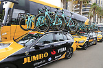 Team Jumbo-Visma Bianchi Oltre XR4 bikes on the team cars before the start of Stage 4 of La Vuelta 2019 running 175.5km from Cullera to El Puig, Spain. 27th August 2019.<br /> Picture: Eoin Clarke | Cyclefile<br /> <br /> All photos usage must carry mandatory copyright credit (© Cyclefile | Eoin Clarke)
