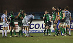 Dejected Blues players at the final whistle as Connacht celebrate victory..Celtic League.Cardiff Blues v Connacht.22.02.13.©Steve Pope-SPORTINGWALES
