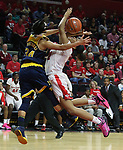 Rutgers women's basketball take on Michigan in a Big Ten Women's basketball game at the RAC in Piscataway on Sunday  February 28, 2016. It was also Senior Day where Rutgers players were honored prior to the start of the game. <br /> <br /> Michigan's # 34 (left) Boogie Brozoski fouls Rutgers # 21 (right) Ashli Jeune.