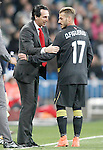Sevilla's coach Unay Emery with his player Diogo Figueiras during La Liga match. March 20,2016. (ALTERPHOTOS/Acero)
