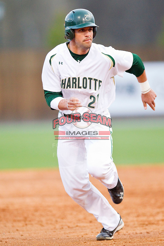 Zach Passerelle #27 of the Charlotte 49ers hustles towards third base against the Tennessee Tech Golden Eagles at Robert and Mariam Hayes Stadium on March 8, 2011 in Charlotte, North Carolina.  Photo by Brian Westerholt / Four Seam Images